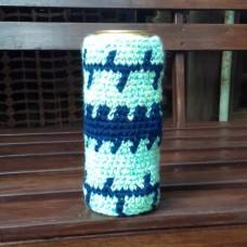 """Чехол """"Бирюзовый с синим узором"""" для банки или бутылки"""